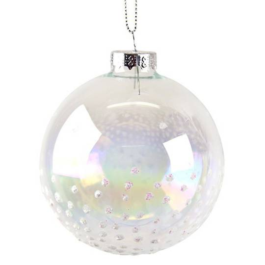 Glass Ball Soap Bubble, Iridescent Snow 8cm